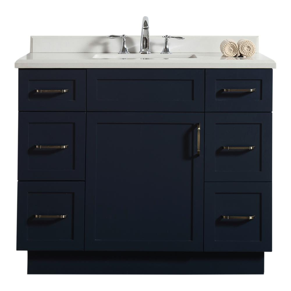 Ove Decors Lincoln 42 In W Bath Vanity Midnight Blue With Marble Top