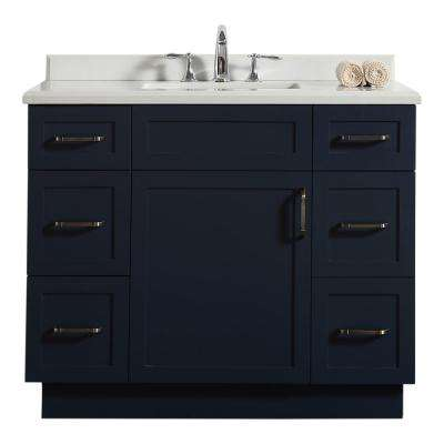 Lincoln 42 in. W Bath Vanity in Midnight Blue with Marble Vanity Top in White with White Basin