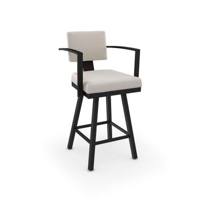 Akers 26 in. Cream Faux Leather / Black Metal Swivel Counter Stool