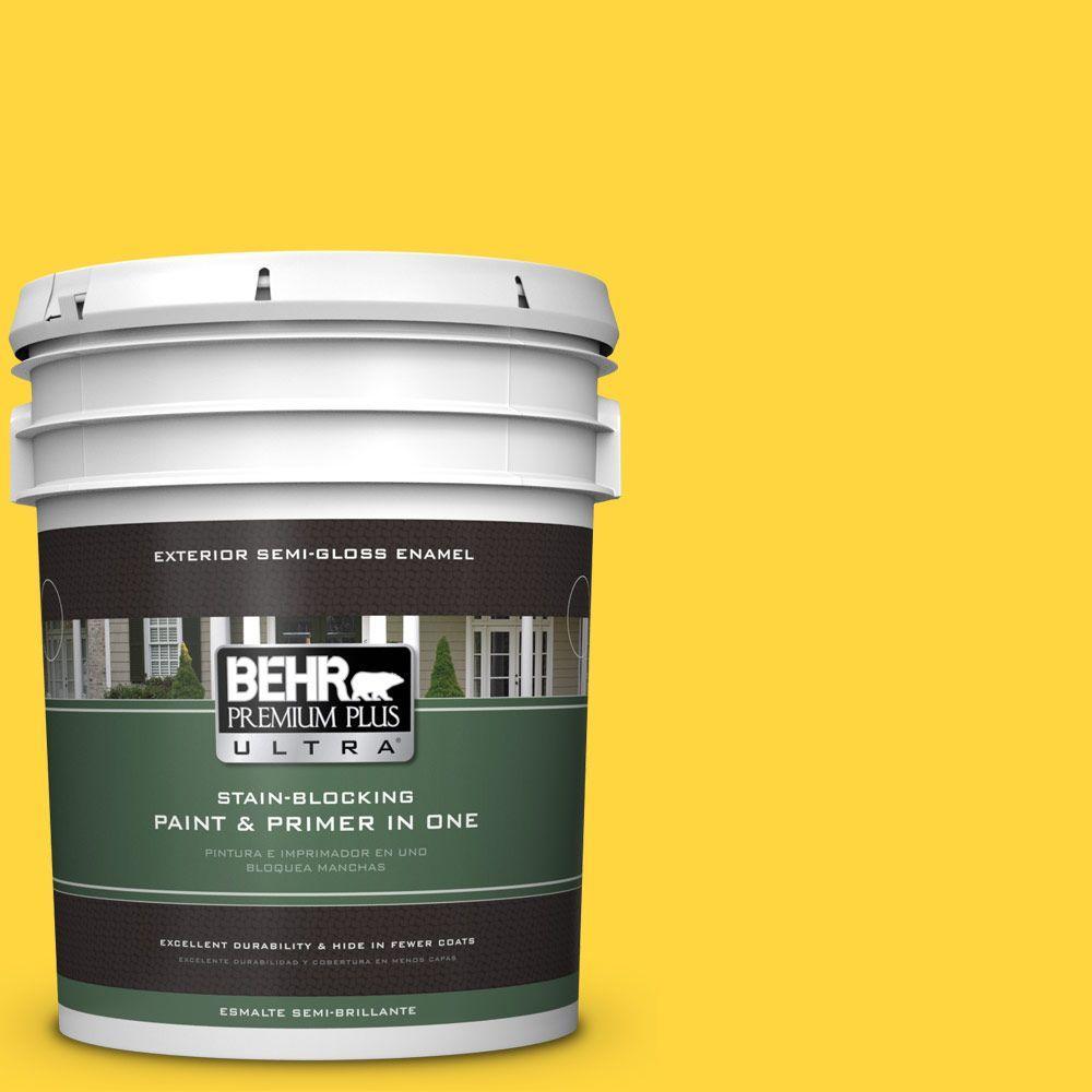 5-gal. #380B-6 Lemon Tart Semi-Gloss Enamel Exterior Paint