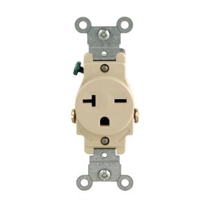 ivory leviton outlets receptacles r51 05821 0is 64_300 leviton 20 amp commercial grade double pole single outlet, white  at edmiracle.co
