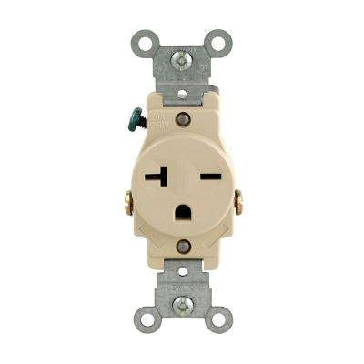 20 Amp Commercial Grade Double-Pole Single Outlet, Ivory