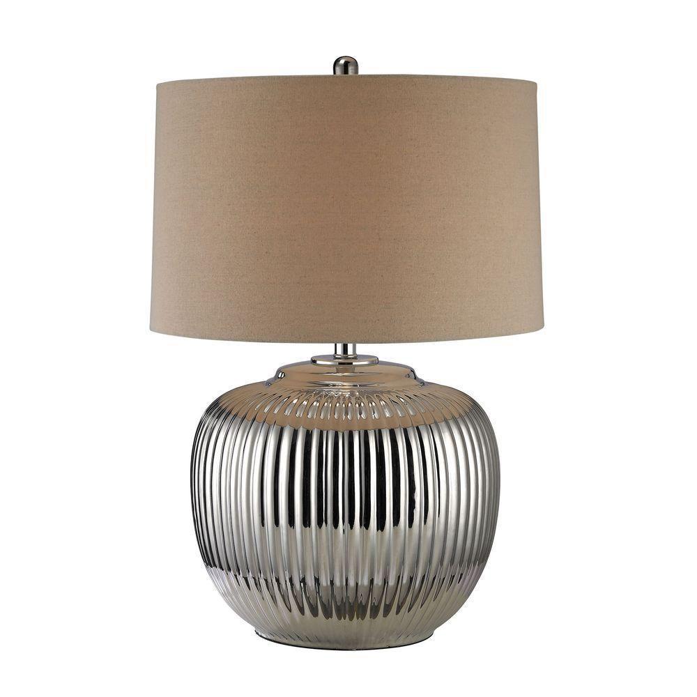 Titan lighting ribbed ceramic 27 in oversized silver table lamp tn titan lighting ribbed ceramic 27 in oversized silver table lamp aloadofball Images