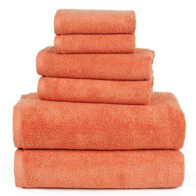 100% Egyptian Cotton Zero Twist Towel Set in Brick (6-Piece)