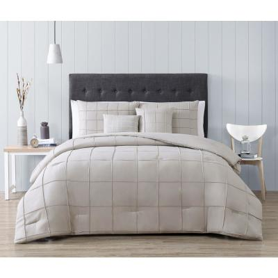 Nelli 5-Piece Taupe King Box-Pinch Pleat Comforter Set with Throw Pillows