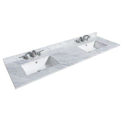 Deborah 72 in. W x 22 in. D Marble Double Basin Vanity Top in White with White Basin