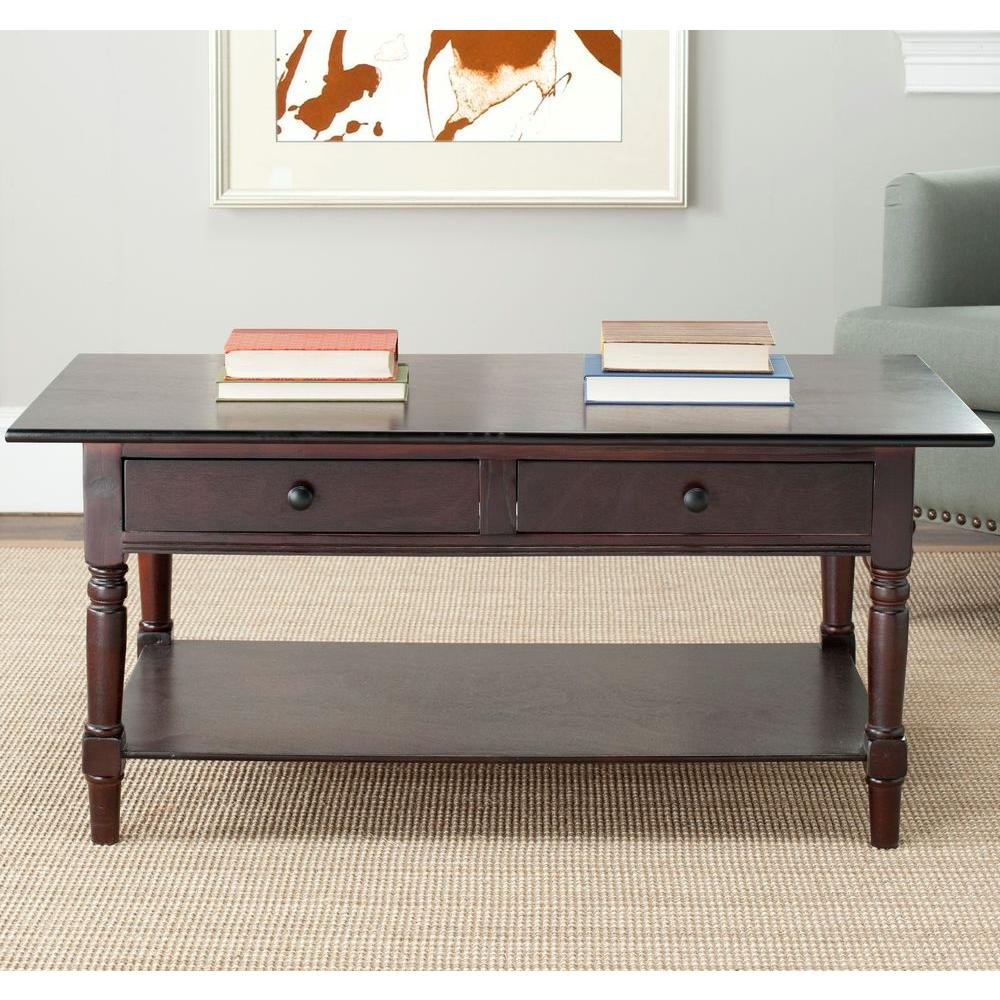 Safavieh Boris Dark Cherry Storage Coffee TableAMHD The Home - Dark red coffee table