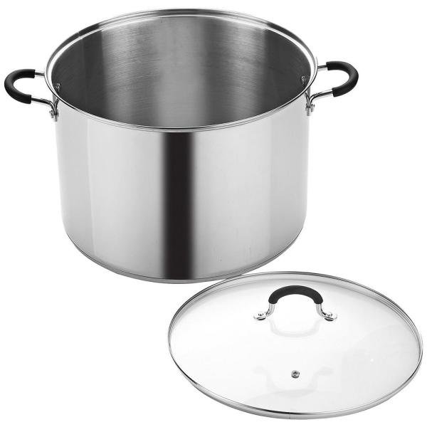 Silver Cook N Home NC-00335 Stainless Steel Saucepot with Lid 20-Quart Stockpot Qt