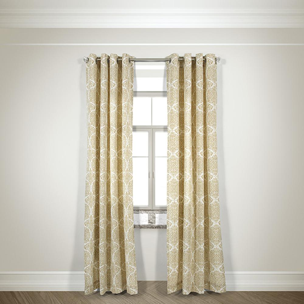 Semi-Opaque Gabrielle Beige Cotton and Polyester Half Panama Curtain - 50