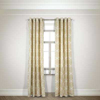 Semi-Opaque Gabrielle Beige Cotton and Polyester Half Panama Curtain - 50 in. W x 84 in. L