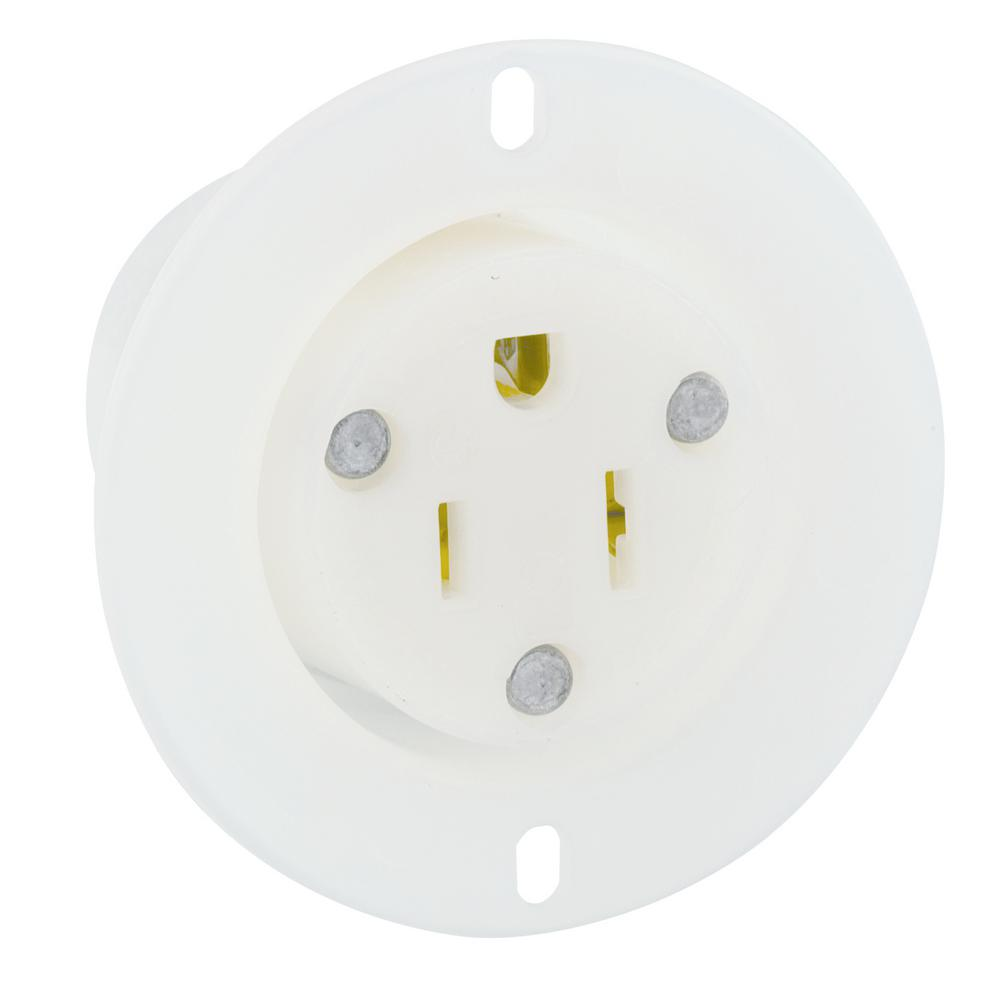 Leviton 15 Amp 125-Volt Flanged Outlet Grounding Straight Blade Receptacle,  White