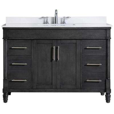 Layla 48 in. W Vanity in Iron Grey with Cultured Stone Vanity Top in White with White Basin