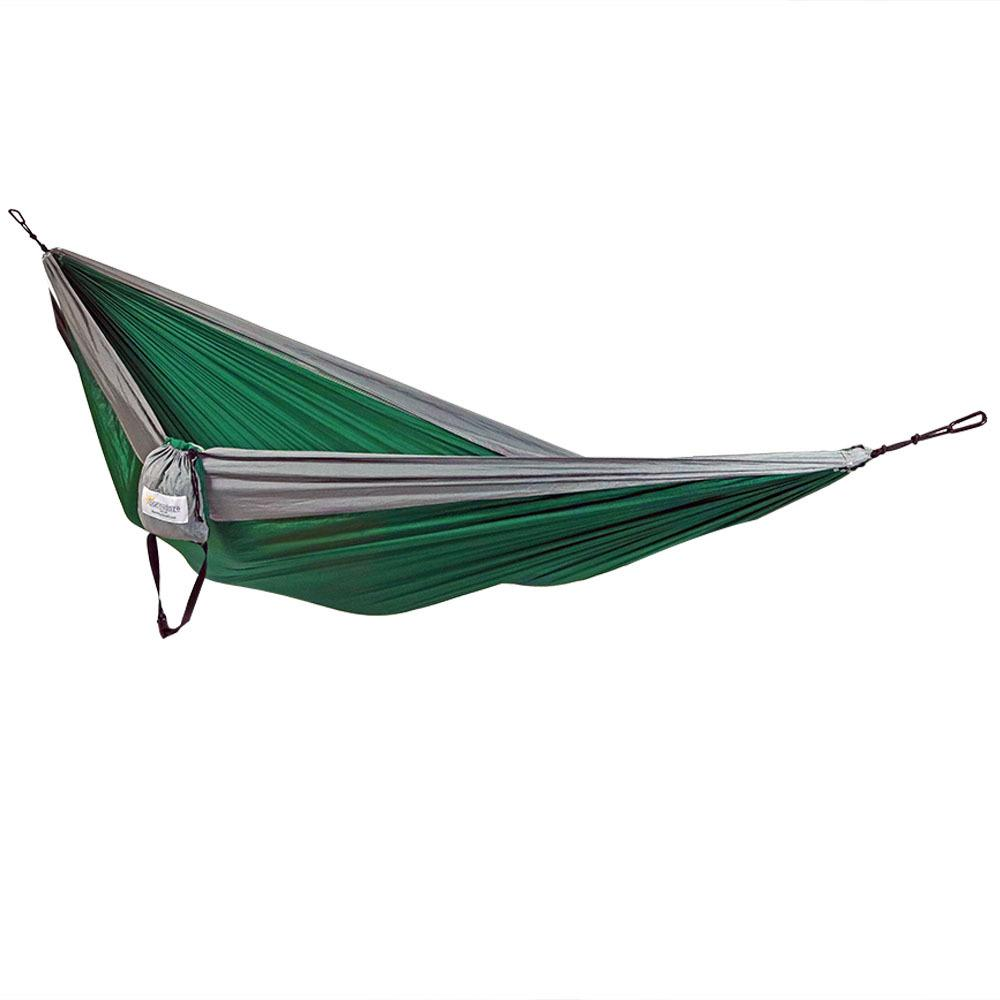 Sunnydaze Decor 10 ft. L Portable Nylon Parachute Double Camping Hammock Bed in Green-Gray