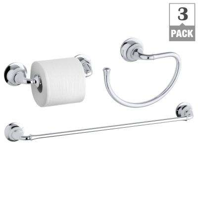 Forte Traditional 3-Piece Hardware Bundle with Towel Bar, Towel Ring and Toilet Paper Holder in Polished Chrome