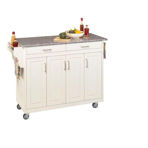 Home Styles Create-a-Cart White Kitchen Cart With Salt and Pepper Granite Top