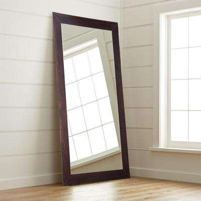 Modern Rustic Walnut Tall Framed Mirror