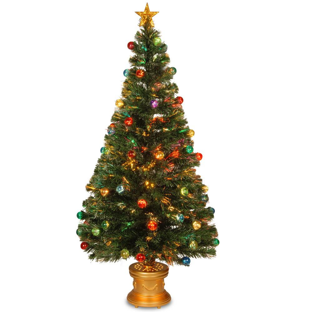 National Tree Company 5 Ft Fiber Optic Fireworks Artificial Christmas With Ball Ornaments