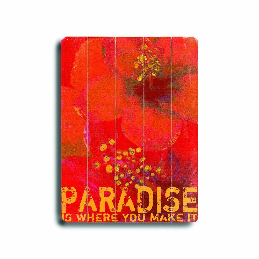 ArteHouse 14 in. x 20 in. Paradise Wood Sign-DISCONTINUED