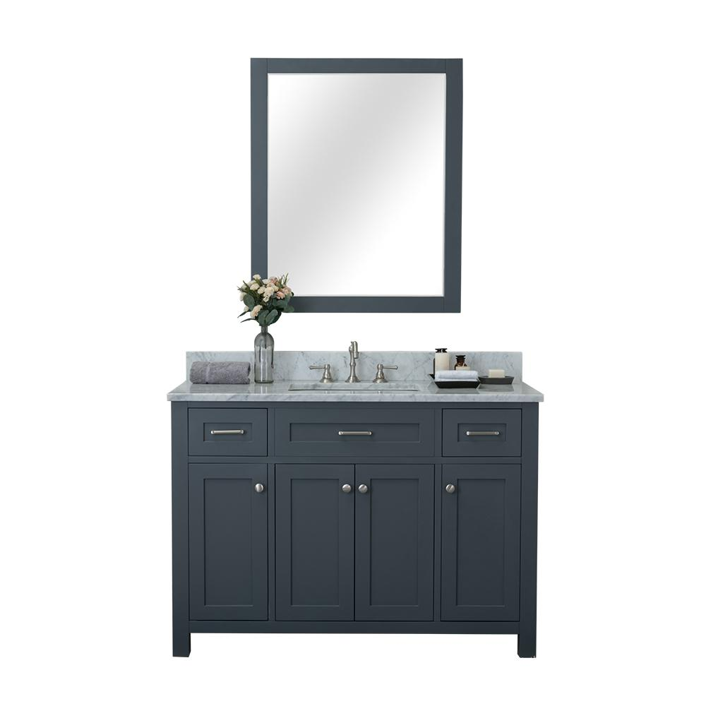 Alya Bath Norwalk 48 in. W x 34.2 in. H x 22 in. D Vanity in Gray with Marble Vanity Top in White with White Basin