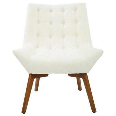 Shelly Linen Fabric Tufted Chair with Coffee Legs