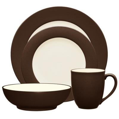 Colorwave Rim 4-Piece Casual Chocolate Stoneware Dinnerware Set (Service for 1)