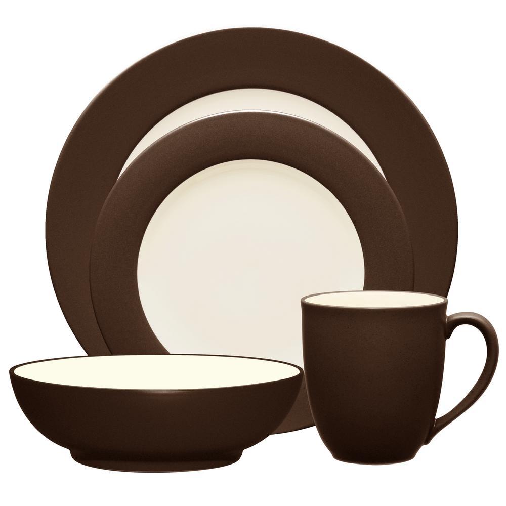 Colorwave Rim 4-Piece Casual Chocolate Stoneware Dinnerware Set (Service for 1)