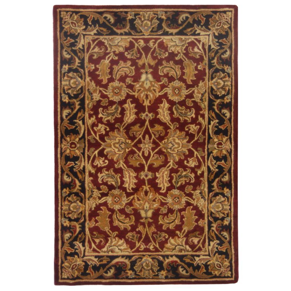 Safavieh Heritage Red Black 6 Ft X 9 Wool Area Rug Hg628c The Home Depot
