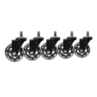 3 in. Black Rollerblade Office Chair Caster Wheels (5-Pack)