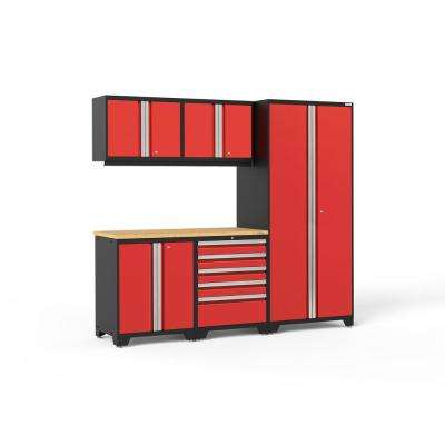 Pro 3.0 85.25 in. H x 92 in. W x 24 in. D 18-Gauge Welded Steel Garage Cabinet Set in Red (6-Piece)