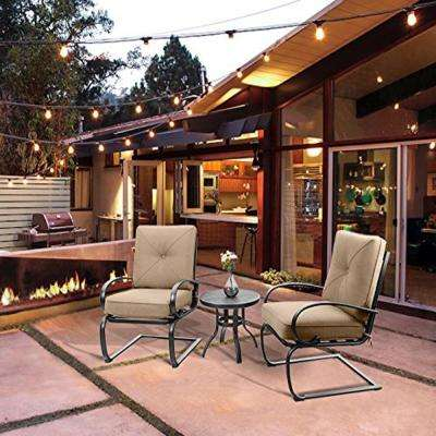 3-Piece Metal Patio Conversation Set with Beige Cushion