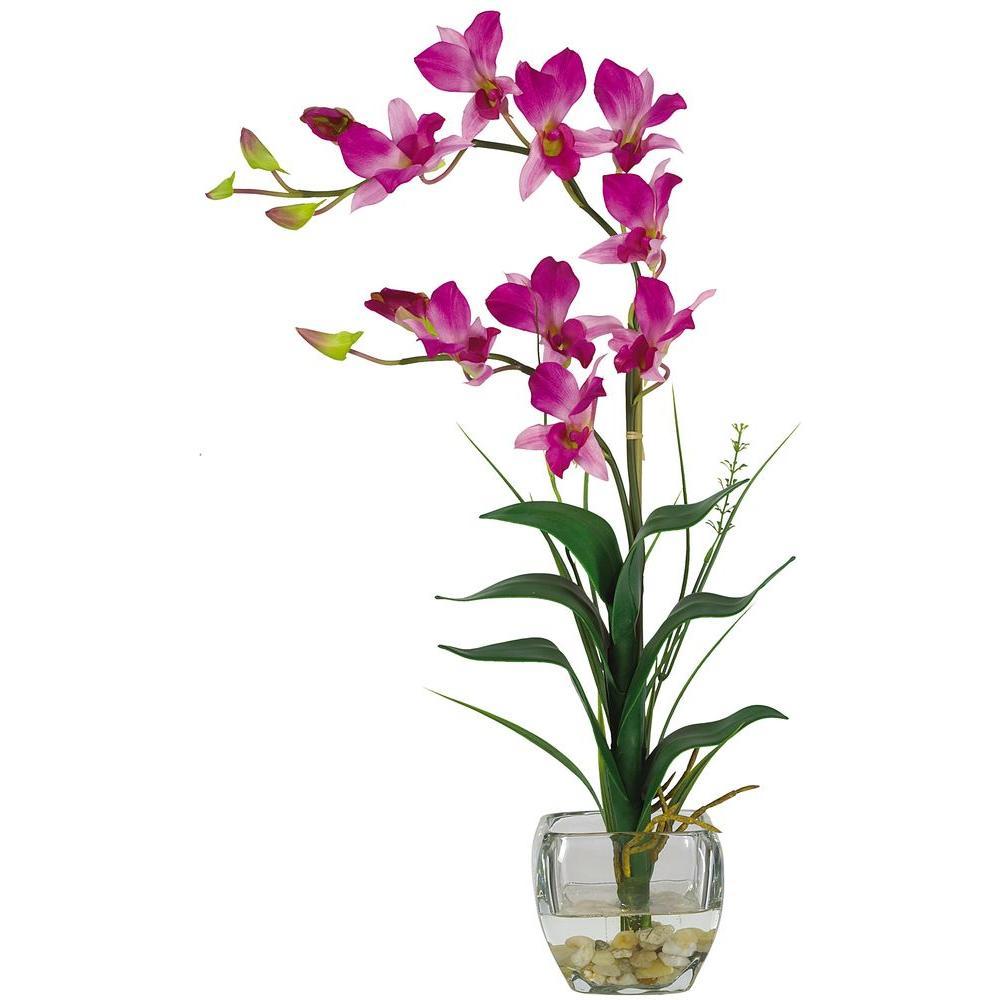 22 in. Purple Dendrobium Silk Orchid Flower Arrangement