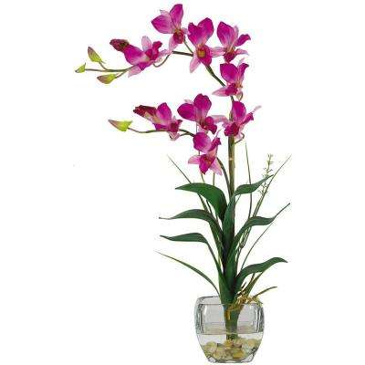 22 in. Purple Dendrobium Silk Orchid Flower Arrangement