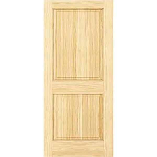 30 in. x 80 in. Unfinished 2-Double Hip Panel Solid Core Wood Interior Door Slab