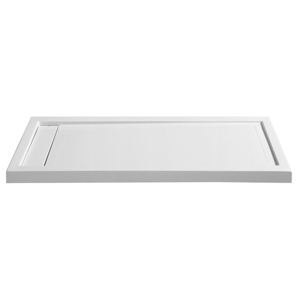 ANZZI Meadow Series 60 in. x 32 in. Single Threshold Shower Base in White