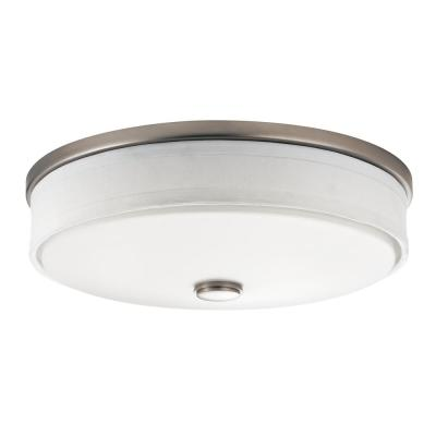 Ceiling Space 13 in. Brushed Nickel Integrated LED Flush Mount Ceiling Light with Linen Shade and White Acrylic Diffuser