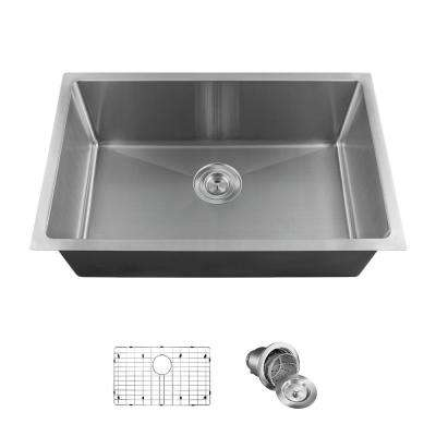 All-in-One Undermount Stainless Steel 17.88 in. Single Bowl Kitchen Sink