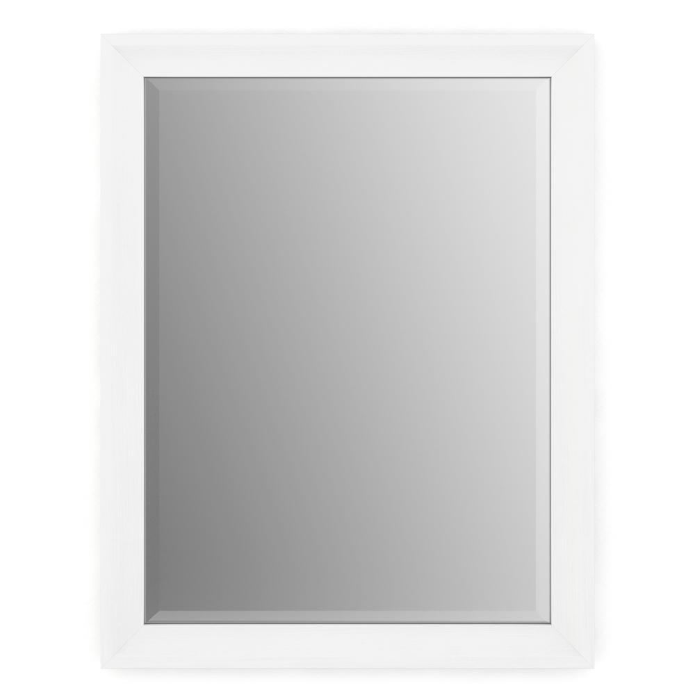 23 in. W x 33 in. H (S2) Framed Rectangular Deluxe Glass Bathroom Vanity Mirror in Matte White
