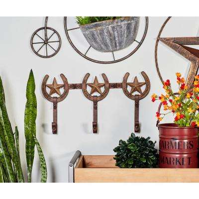 Brown Iron Stars and Horse Shoes Wall Hook Rack