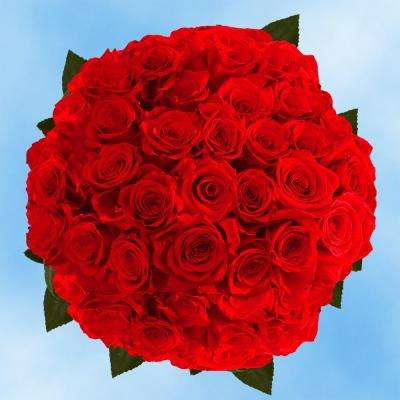 fresh red roses 50 stems - Red Garden Rose Bouquet