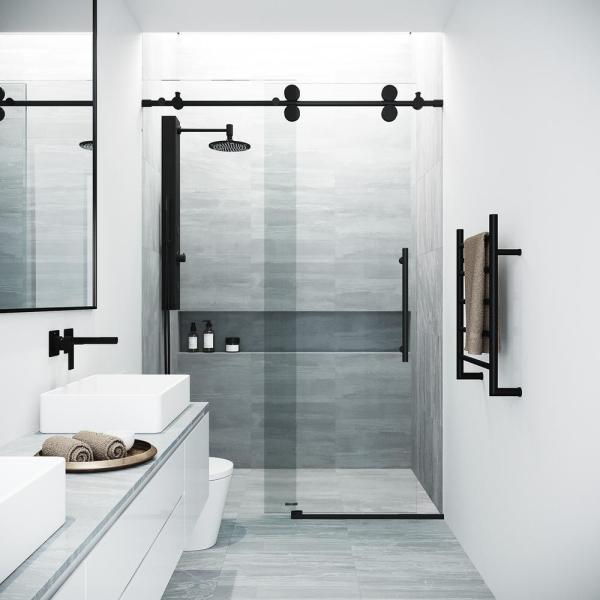 Elan 48 to 52 in. x 74 in. Frameless Sliding Shower Door in Matte Black with Clear Glass and Handle