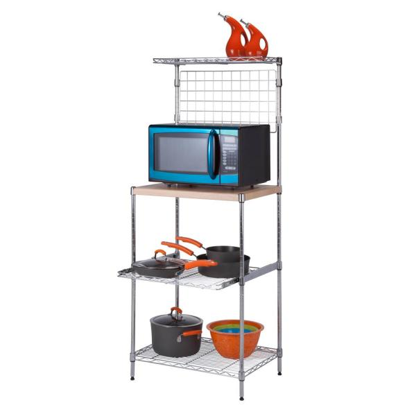 Honey-Can-Do Microwave Shelving Unit with Shelves, Chrome with Wood Top