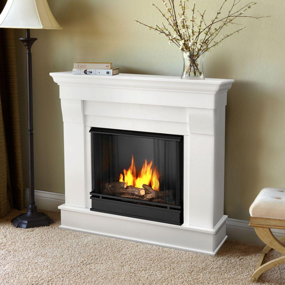 real flame chateau 41 in ventless gel fuel fireplace in white