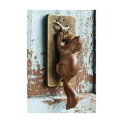Brown and Gold Aluminum Squirrel Doorknocker
