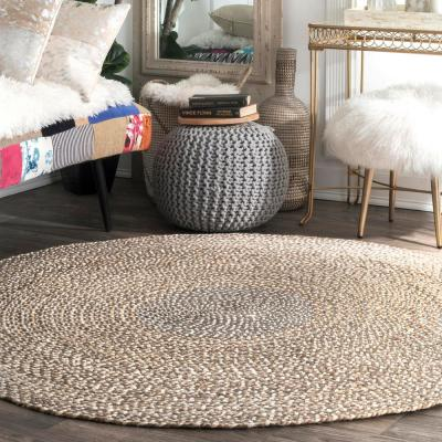Draya Braided Jute Gray 8 ft. Round Rug