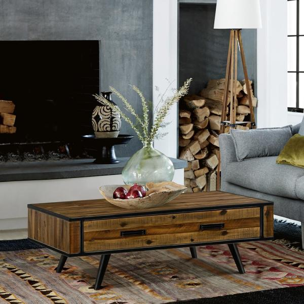 Armen Living Cusco 47 In Antique Acacia Large Rectangle Wood Coffee Table With Drawer Lccucoac The Home Depot