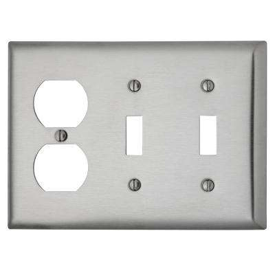 302 Series 3-Gang Toggle/Toggle/Duplex Combination Wall Plate, Stainless Steel