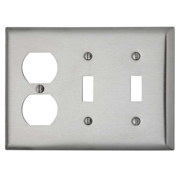Pass & Seymour 302/304 S/S 3 Gang 2 Toggle 1 Duplex Wall Plate, Stainless Steel (1-Pack)
