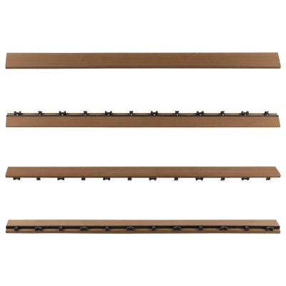 1/6 ft. x 3 ft. Quick Deck Composite Deck Tile Straight Trim in Peruvian Teak (2-Pieces per Box)