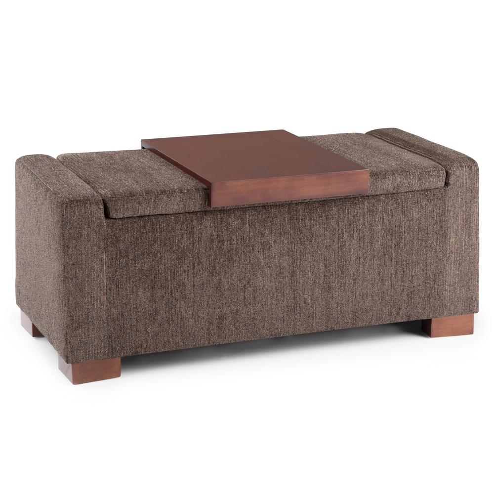Simpli Home Bretton Deep Umber Brown Lift Top Storage OttomanAXCOT