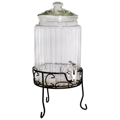 Del Sol 1.5 Gal. Clear Ribbed Dispenser and Stand
